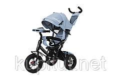 Детский трехколесный велосипед Tilly Camaro T-362, фара, большой капюшон, родительская ручка, багажник, серый