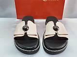 Стильные женские кожаные шлёпанцы пудра Terra Grande, фото 5