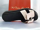 Стильные женские кожаные шлёпанцы пудра Terra Grande, фото 3