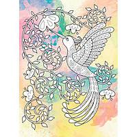 Картина раскраска с контурами на холсте +краски Идейка 18*25см DZ060 Антистресс. Райская птичка. Палитра яшма