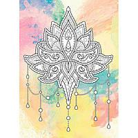 Картина раскраска с контурами на холсте +краски Идейка 18*25см DZ076 Антистресс. Цветок лотоса. Палитра рубин