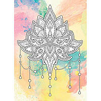 Картина раскраска с контурами на холсте +краски Идейка 18*25см DZ079 Антистресс. Цветок лотоса. Палитра