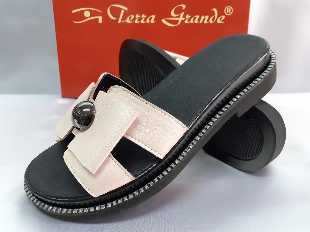 Стильные женские кожаные сабо-шлёпанцы Terra Grande