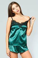 Шелковая женская пижама зеленая с кружевом 42, 44, 46