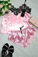Шелковая женская пижама розовая с кружевом 42, 44, 46