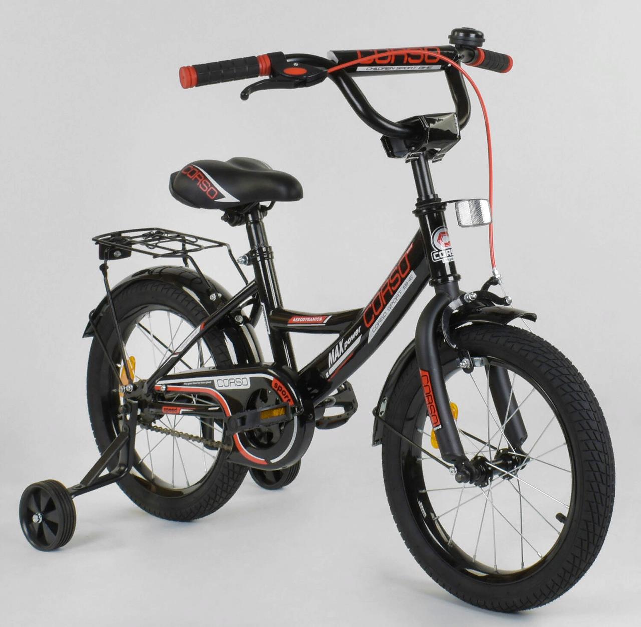 Двухколесный детский велосипед 16 дюймов CL-16 P 4482 черный