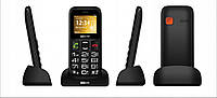 Кнопочный телефон бабушкофон с кнопкой сос и стаканом для зарядки на 2 sim Maxcom MM426 Black
