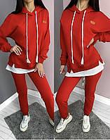 Женский спортивный костюм с имитацией и удлинённым бантиком, фото 1