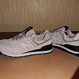 Женские кроссовки New Balance 574 замшевые пудровые с черным. Живое фото. Реплика, фото 3