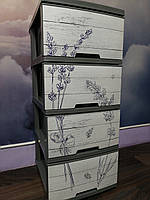 Комод пластиковый Алеана Лаванда 4 полки Темно-серый, фото 1