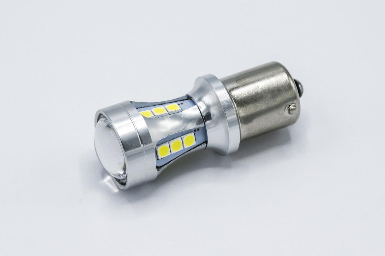 Габарит LED P21W/1156 #79 - 15LED Конус - Линза (4 side x 3led) / 6w / Белый