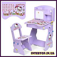 Детская парта со стульчиком Hello Kitty + алфавит M 0324-9 фиолетовый цвет . Для детей 5 -10 лет