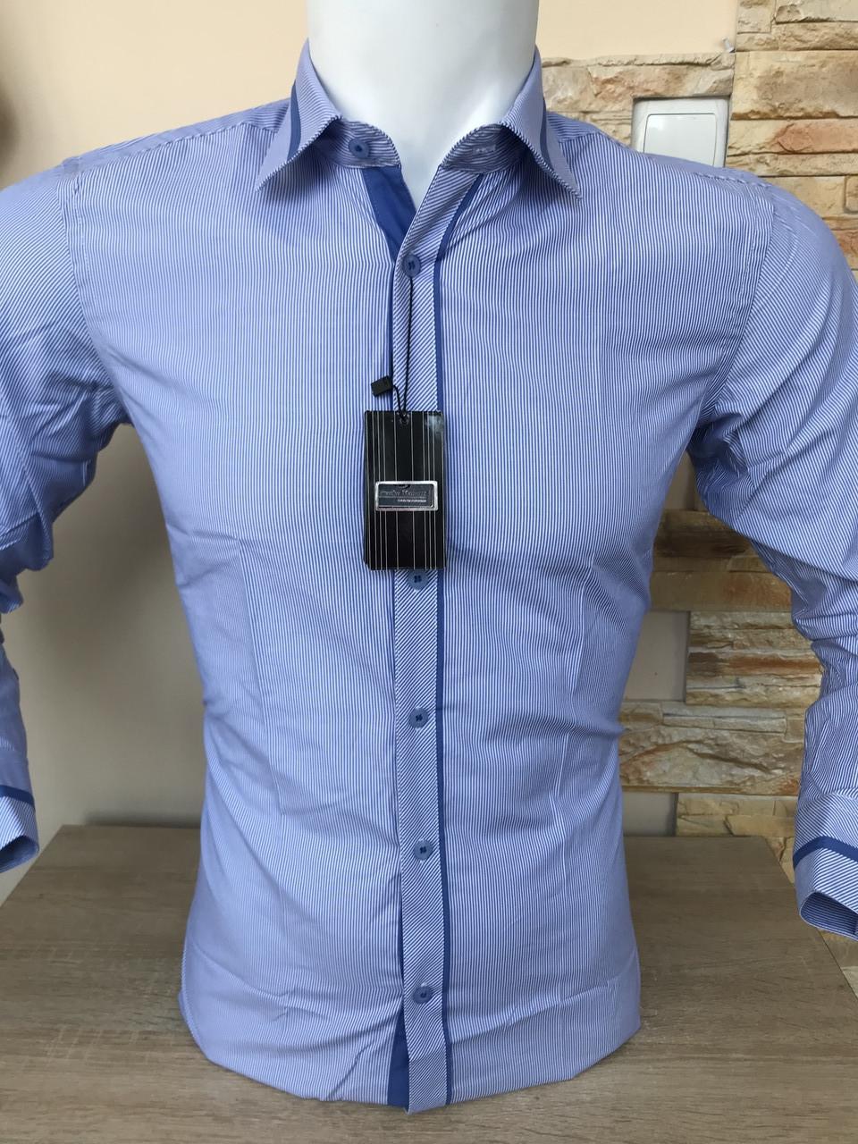 Блакитна сорочка в полоску Franko Manutti