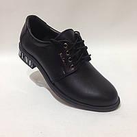 Женские кожаные туфли со шнурком красивые модные