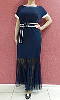 Оригинальное вечернее платье-футляр-рыбка сине-белое, батал, нарядное, коктейльное, на свадьбу, на выпускной