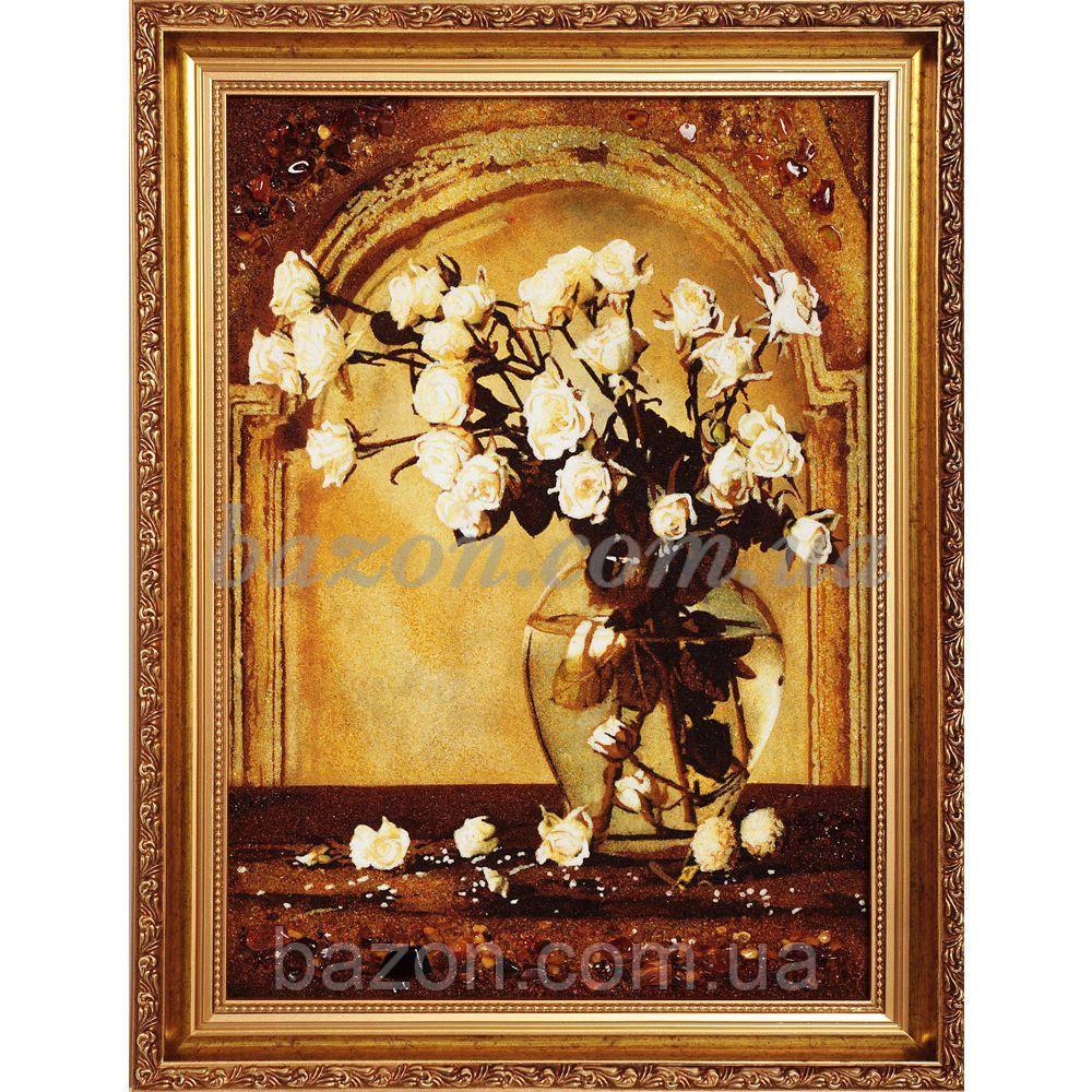 """Картина из янтаря """"Белые розы"""""""