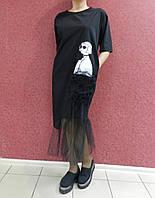 Нарядное черное платье батал, коттон-сетка, стильное, летнее, повседневное, больших размеров