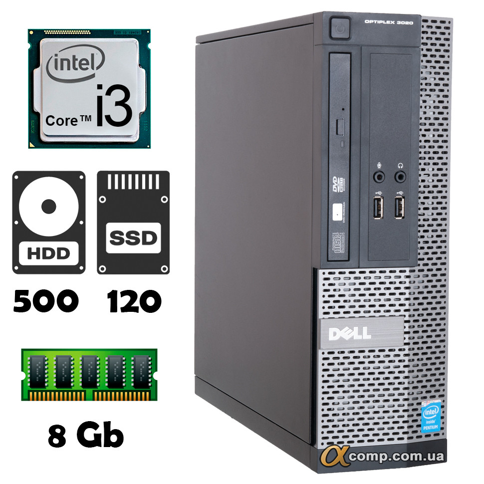 Компьютер Dell 3020 (i3-4130/8Gb/500Gb/ssd 120Gb) desktop БУ