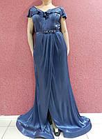 Вечернее длинное платье-рыбка батал, серо-синее блестящее, эффектное, нарядное, на свадьбу, на выпускной