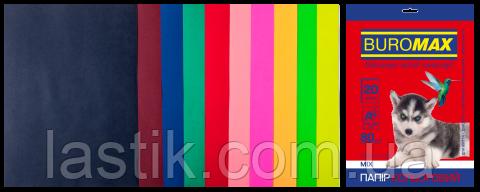 Набор цветной бумаги DARK+NEON, 10 цв., 20 л., А4, 80 г/м²