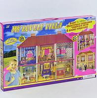 Домик для кукол для девочек  в наборе детская мебель, в коробке128 деталей сборки домика.