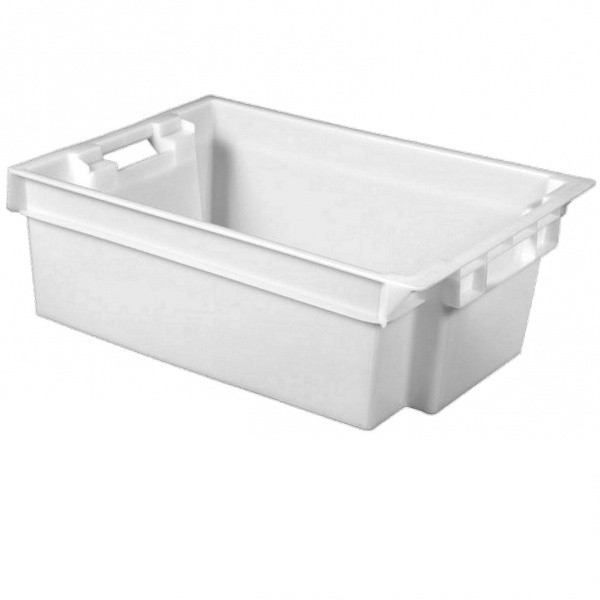 Ящик контейнер пластиковый 600х400х180 белый для продуктов б/у