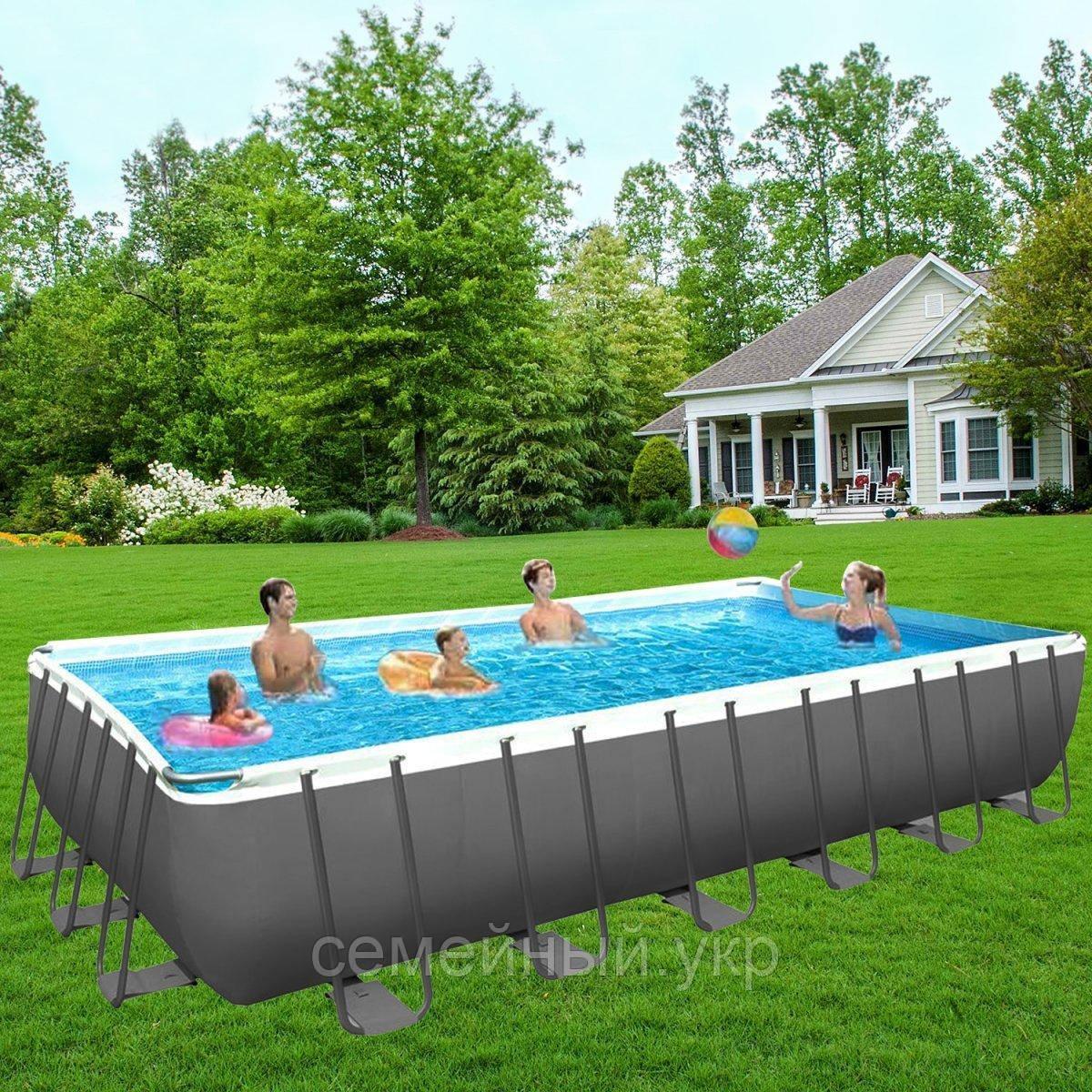Каркасный бассейн Intex. ДхШхВ: 732х366х132 см. Вес: 185 кг. Лестница, насос-фильтр. Трехслойный ПВХ