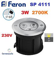 Светодиодный тротуарный светильник Feron SP4111 220V 3w 2700K, фото 1
