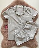 Женская хлопковая пижама в серую полосочку, фото 2