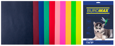 Набор цветной бумаги DARK+NEON, 10 цв., 50 л., А4, 80 г/м², фото 2