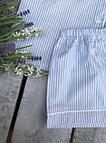 Женская хлопковая пижама в голубую полосочку, фото 2