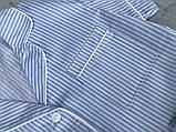 Женская хлопковая пижама в голубую полосочку, фото 3