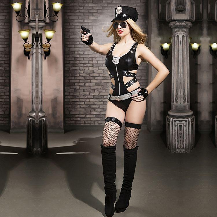 Эротический костюм полицейского Ненасытная Николь S/M, боди, чулки, фуражка, пояс, значок, пистолет