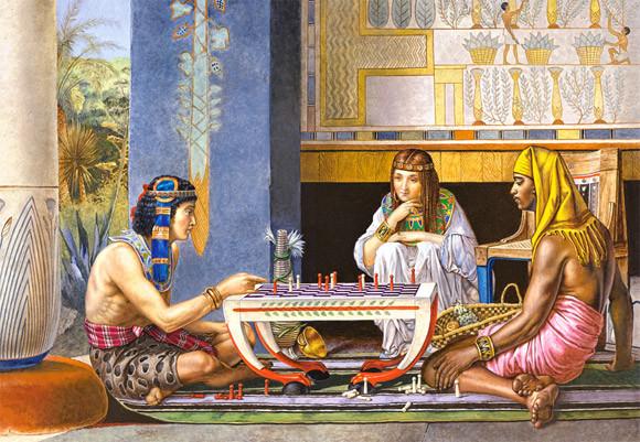 Пазлы Castorland 1000 элементов, 68х47 см, в коробке, Египетские шахматисты (картины, люди)