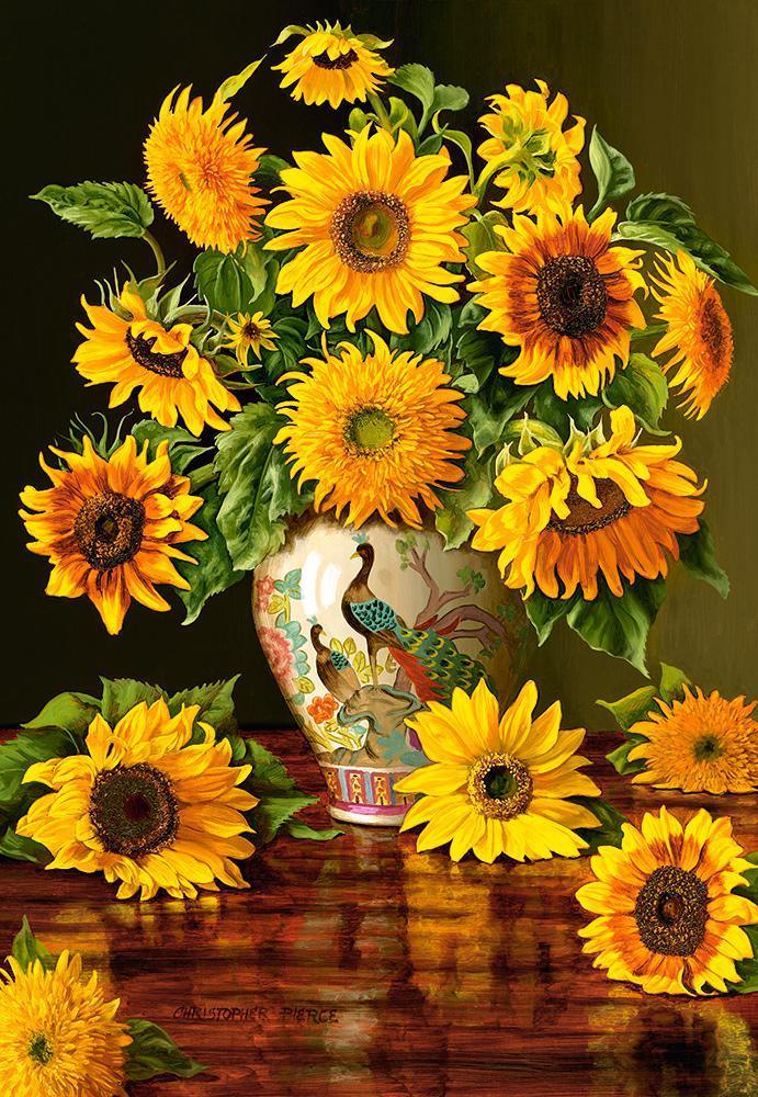 Пазлы Castorland 1000 элементов, 68х47 см, в коробке, Подсолнухи в вазе (цветы)