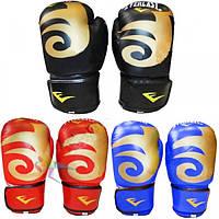 Перчатки боксерские Кожа ELAST BO-3630-BK (р-р 8-12oz, черный)