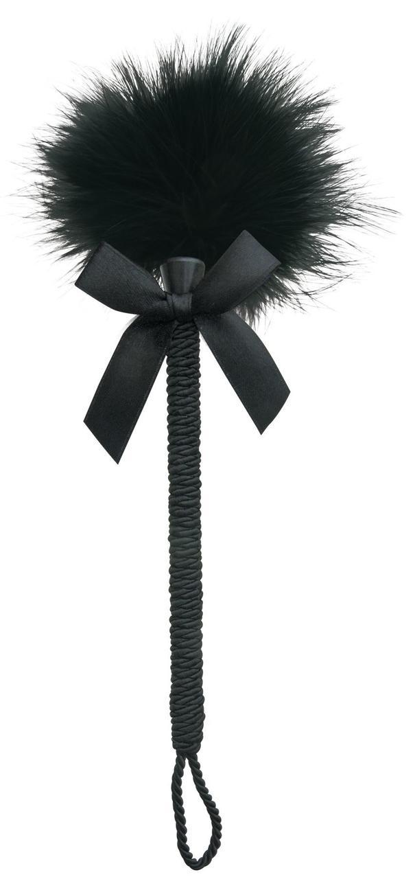 Мітелочка-щекоталка Sportsheets Midnight Feather Tickler, декорована шнуром і бантиком
