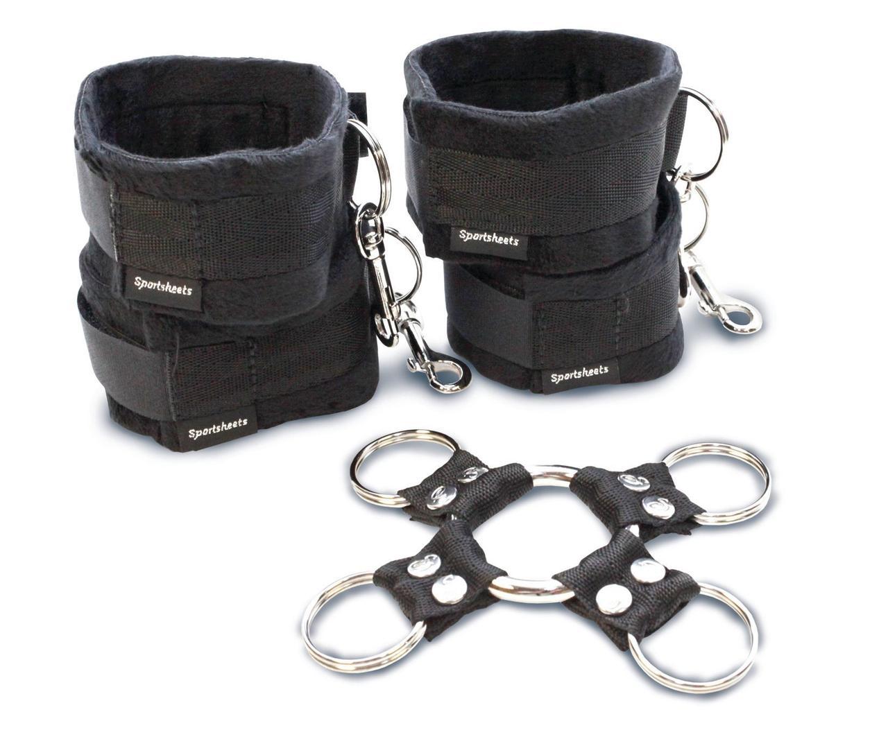 Набор для фиксации рук и ног Sportsheets Hog Tie & Cuff Set (крестовина, наручники и поножи)