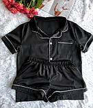 Женская черная пижама в рубашечном стиле шёлк-армани, фото 2