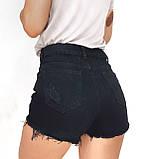 Шорты женские джинсовые чёрные 25-30, фото 4