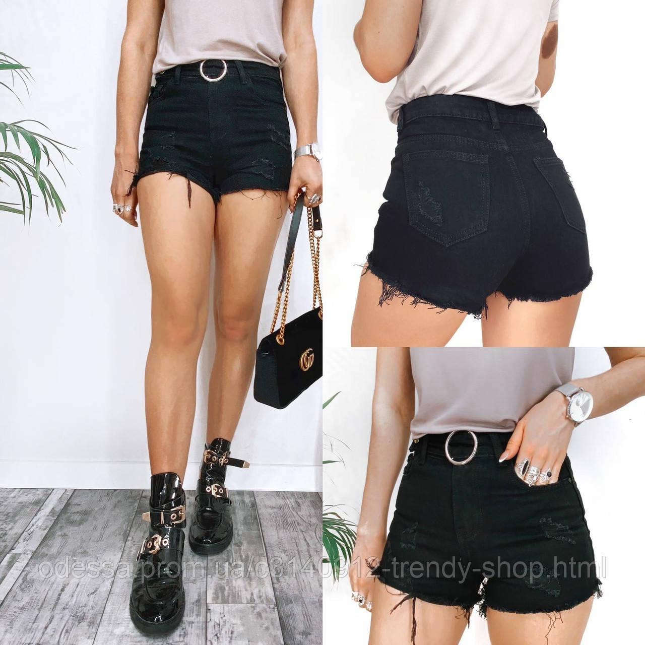 Шорты женские джинсовые чёрные 25-30