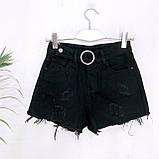 Шорты женские джинсовые чёрные 25-30, фото 5