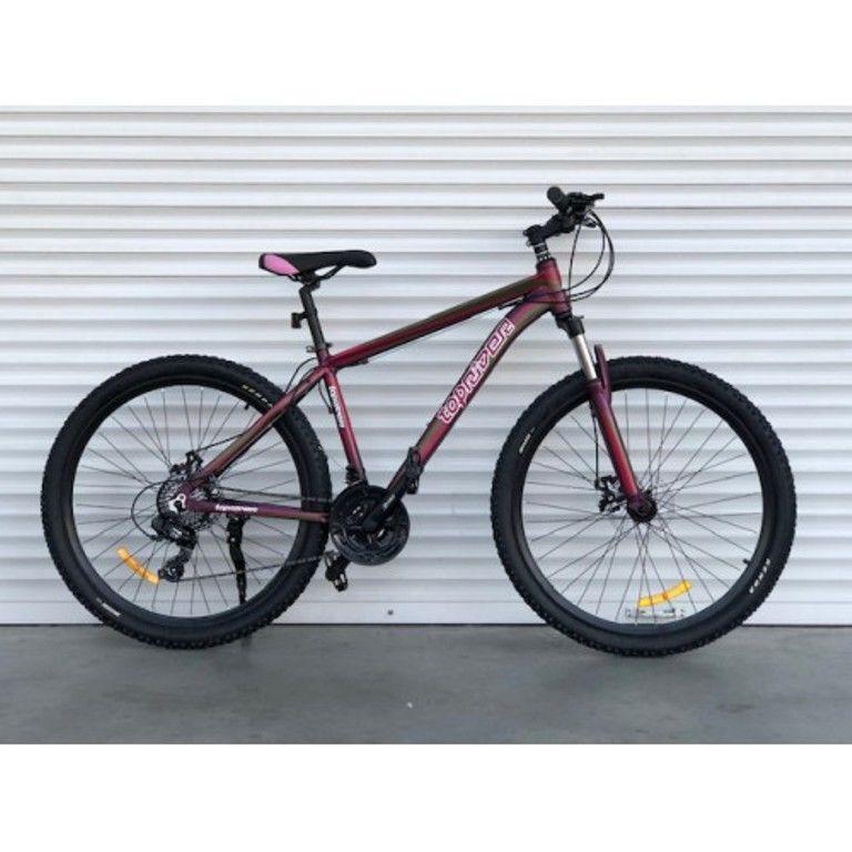 """Гірський велосипед TopRider 901 R29"""" 21"""" алюмінієвий з дисковими гальмами (Бордовий)"""