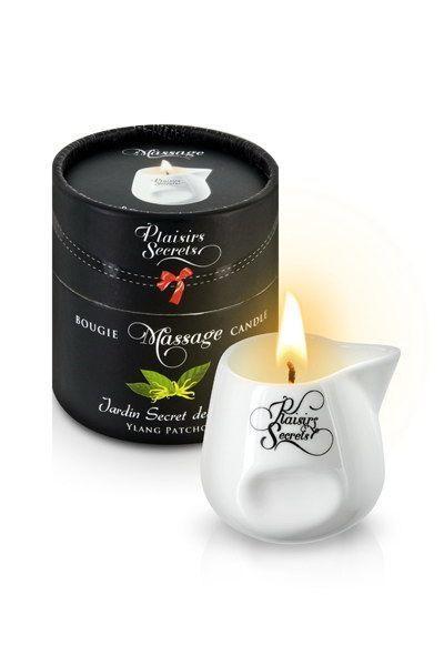 Масажна свічка Plaisirs Secrets Ylang Patchoul (80 мл) подарункова упаковка, керамічний посуд