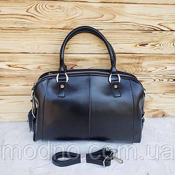 Женская кожаная сумка на три отделения черного цвета Galanty