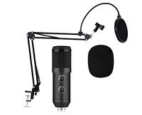 Студийный микрофон Music D.J. M800 со стойкой и ветрозащитой Black