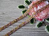 Стразовая лента на силиконе золото + розовая 40 см длина 1 см ширина, фото 3