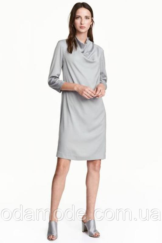 Женское платье шёлковое серое  H&M
