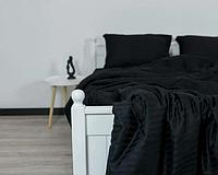 Постільна білизна сатин Чорний. Євророзмір.