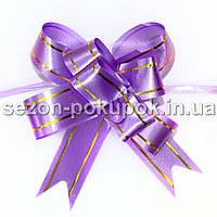 """Бант-затяжка """"Лентяйка"""" 1,7 см (в собраном виде  8,5 х 7см) Цвет - фиолетовый"""